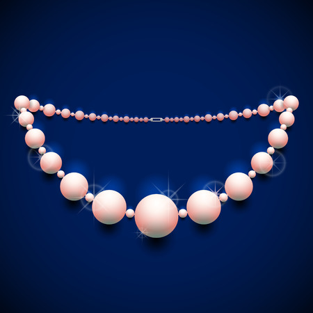 chaplet: Pearl chaplet against dark background. Nacreous beads necklace with shine effect. Qualitative vector illustration about jewellery industry accessories fashion luxury etc Illustration