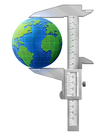 Vertical caliper measures globe. Concept of earth and measuring tool. Qualitative vector illustration for travel planet Earth geography tourism world map trip cartography etc