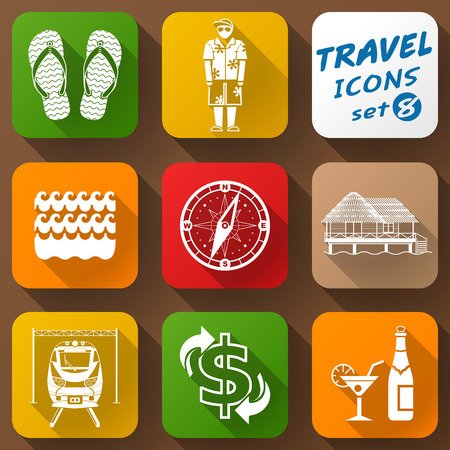qualitative: Flat icons set of travel elements. Collection of color icons for tourism and vacation. Qualitative vector signs about travel hotel tourism vacation trip booking etc