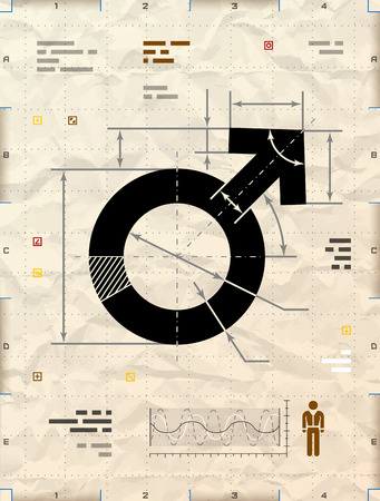 impotence: Male symbol as technical blueprint drawing.  Illustration