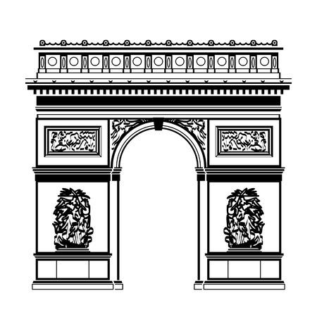 blackandwhite 색상 프랑스 개선문 (Arc de Triomphe). 파리의 랜드 마크의 실루엣입니다. 여행 프랑스 휴가 관광 파리 여행 등을위한 질적 벡터 일러스트 레이
