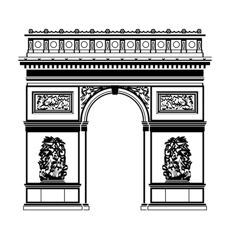 French Arc de Triomphe in blackandwhite color. Silhouette of Paris landmark. Qualitative vector illustration for travel france vacation sightseeing paris tour etc Ilustração