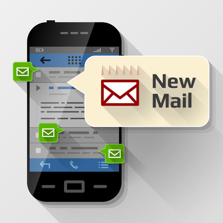 prompting: Smartphone with message bubble about new mail. Dialog box pop up over screen of phone. Qualitative vector illustration about smartphone communication mobile technology notification application prompting etc