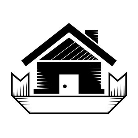 housing estate: House symbol with ribbon. Realty sign in blackandwhite color. Qualitative vector illustration about architecture building real estate construction development renovation housing etc