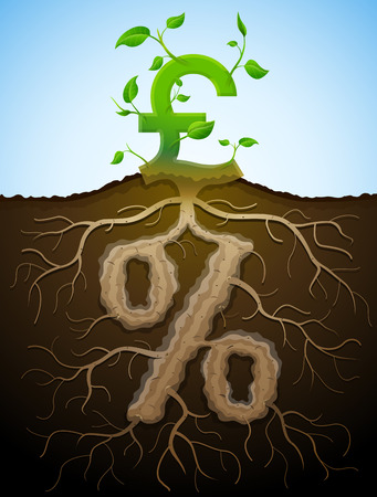 pct: Growing pound sign as plant with leaves and percent sign as root. Financial concept with money symbol and percentage. Qualitative vector illustration for banking financial industry economy accounting etc Illustration