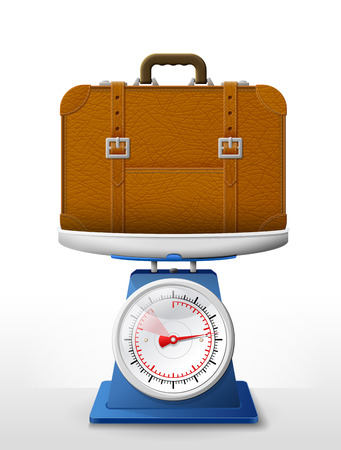 weighing scale: Leather suitcase on scale pan. Weighing travel bag with belts on scales. Qualitative vector illustration about travel luggage tourism accessory vacation baggage trip etc