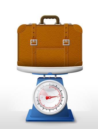 valigia: Valigia di cuoio su piatto della bilancia. Pesatura borsa da viaggio con cinture su scale. Qualitativa illustrazione vettoriale su bagagli di corsa accessorio turismo viaggio bagaglio di vacanza, ecc