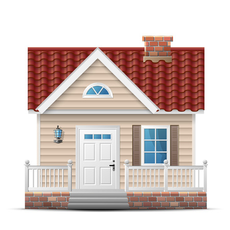 renovation property: Color house with porch. Front view facade of single home. Qualitative vector illustration about architecture building real estate construction development renovation housing etc Illustration