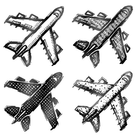aeronautics: Hand drawn plane symbol top view. Sketch of airplane in doodle style. Qualitative vector illustration about flights plane travel aviation piloting air transport etc