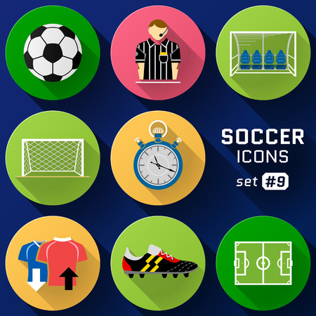 Color flat icon set of soccer elements. Pack of symbols for association football. Qualitative vector icons about soccer sport game championship gameplay etc Illustration