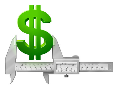 measures: Horizontal caliper measures dollar symbol Illustration