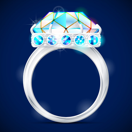 bezel: Silver ring with diamond against dark background. Wedding ring with gemstones. Qualitative vector illustration about jewellery industry accessories fashion luxury etc