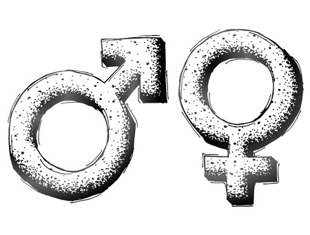 man and woman sex: Hand drawn gender symbols with dot shading. Sketch of man and woman signs in doodle style. Qualitative vector illustration about man woman sex differences relationship gender role sexual orientation etc Illustration