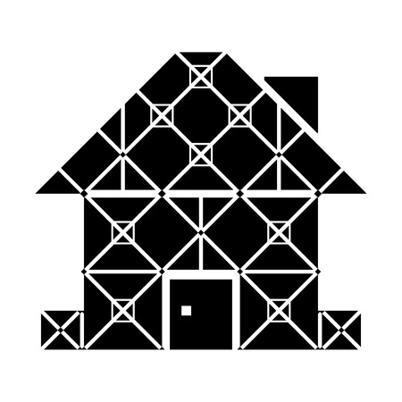 housing estate: House symbol with framed facade. Realty sign in blackandwhite color. Qualitative vector illustration about architecture building real estate construction development renovation housing etc