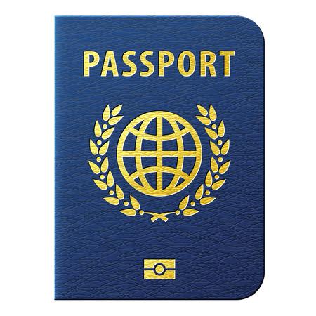 Blauer Pass auf weißem Hintergrund. Internationale Ausweisdokument für die Reise. Qualitative Vektor-Illustration zu Identifikations Reise checkin Tourismus Passkontrolle Urlaub Staatsbürgerschaft Reise etc