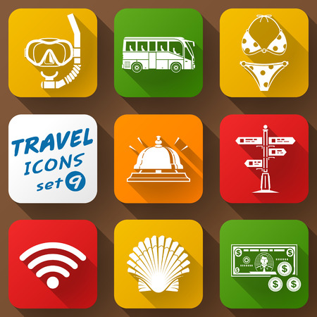 Flat icons set of travel elements. Collection of color icons for tourism and vacation. Qualitative vector signs about travel hotel tourism vacation trip booking etc Vector