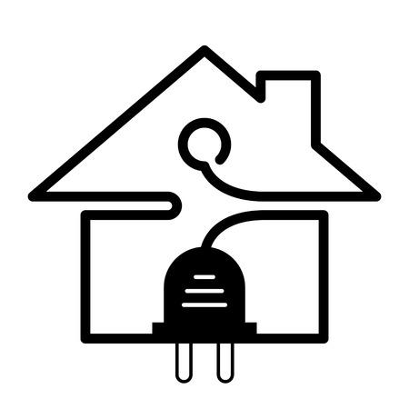 energia electrica: Enchufe y alambre en forma de símbolo de la casa. Signo de bienes inmuebles en el color blanco y negro. Ilustración vectorial cualitativa sobre la arquitectura de la construcción de viviendas actualización el desarrollo de la construcción de bienes raíces, etc.