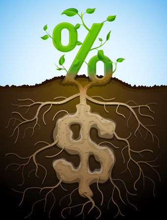 Growing percent sign as plant with leaves and dollar sign as root. Financial concept with money symbol and percentage. Qualitative vector illustration for banking financial industry economy accounting etc Illustration