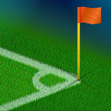 Corner of soccer pitch with flag. Part of football field for corner kick. Qualitative vector illustration for soccer sport game championship gameplay etc