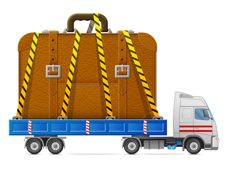 Road transportation of suitcase. Delivery of big travel bag in back of truck. Qualitative vector illustration about travel luggage tourism accessory vacation baggage trip etc