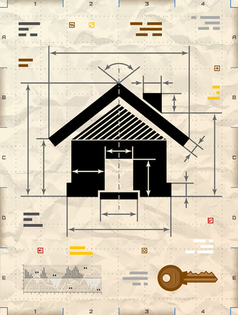 drafting: House symbol as technical blueprint drawing. Drafting of home sign on crumpled  paper. Qualitative vector illustration about architecture building real estate construction development housing etc