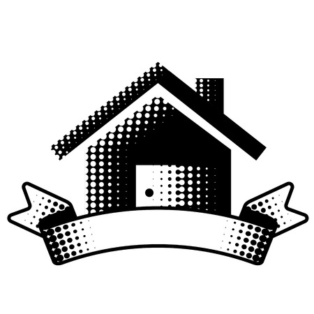 lodge: House symbol with ribbon. Realty sign in blackandwhite color. Qualitative vector illustration about architecture building real estate construction development renovation housing etc