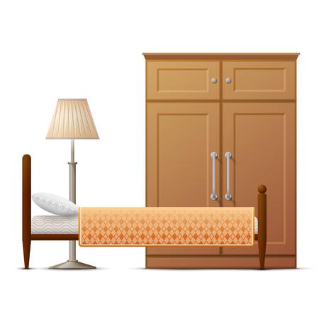 recreation rooms: Interior elements of hotel room. Main furniture of bedroom. Qualitative vector illustration about hotel travel apartment design booking interior etc Illustration
