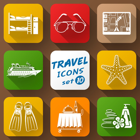 bunk bed: Flat icons set of travel elements. Collection of color icons for tourism and vacation. Qualitative vector signs about travel hotel tourism vacation trip booking etc