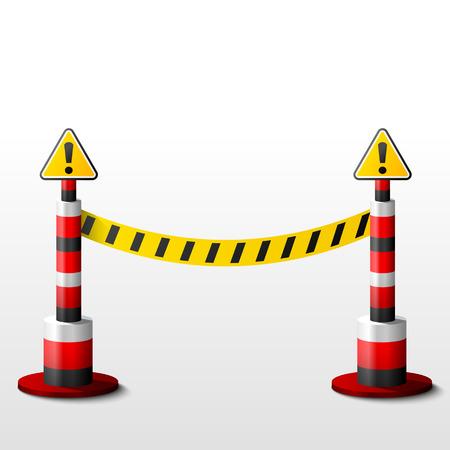 cintas: El bloqueo de bolardos con signos de atención. Cinta de barrera y mensajes. Ilustración vectorial cualitativa para cerramiento de protección de seguridad, etc.