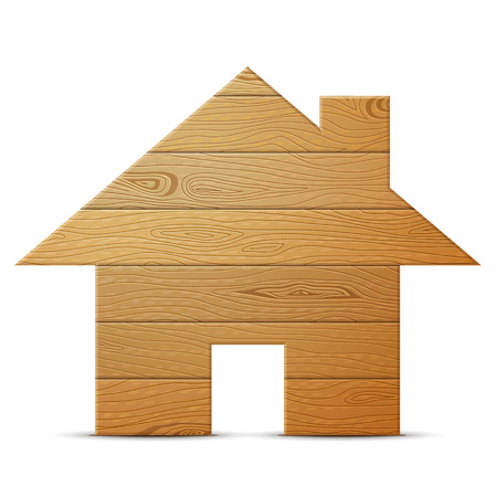 joinery: House symbol of wood isolated on white background. Wooden planks in shape of home sign. Qualitative vector illustration about architecture, building, real estate, construction, development, woodworking, etc Illustration