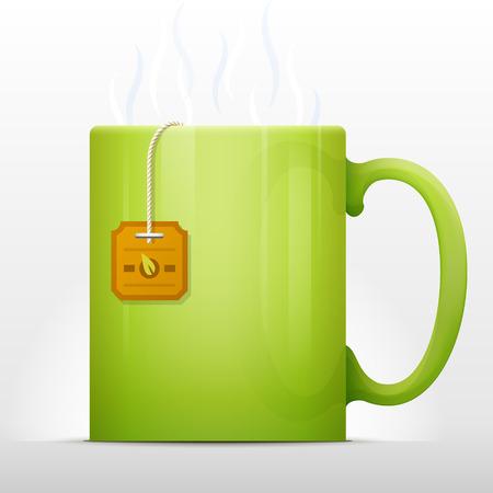 sencha tea: Tea bag brewing in mug. Hot cup of tea with teabag inside. Qualitative vector illustration about process of cooking tea, tea bag steeping, tea party, etc Illustration