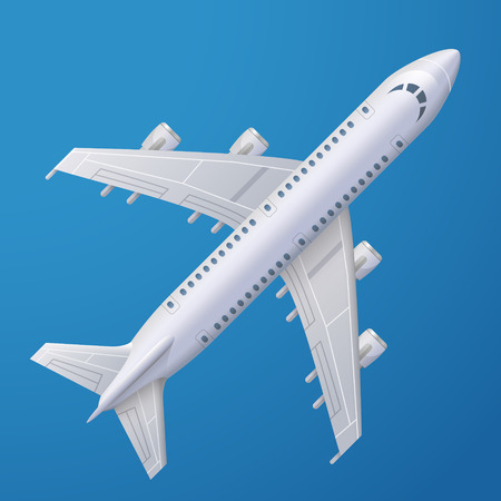 airplane wing: White plane against blue background. Passenger airliner, top view. Qualitative vector illustration about flights, plane, travel, aviation, piloting, air transport, etc