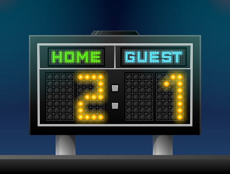 results: Electronic soccer scoreboard for stadium. Sport screen for association football and other games. Qualitative vector illustration for soccer, sport game, championship, gameplay, etc