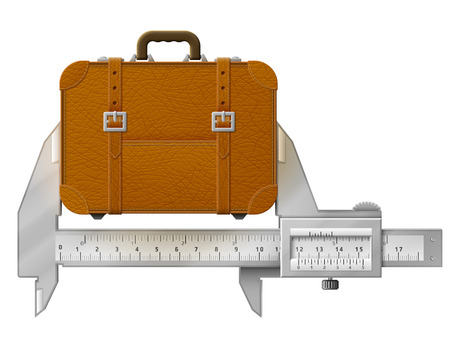 measures: Horizontal caliper measures suitcase. Concept of measuring size of travel bag. Qualitative vector illustration about travel, luggage, tourism, accessory, vacation, baggage, trip, etc Illustration