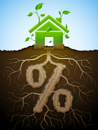 green building: Growing house sign as plant with leaves and percent sign as root. Home and percentage in shape of plant parts. Qualitative vector illustration for mortgage, green building, real estate, investment, construction, sustainability, etc