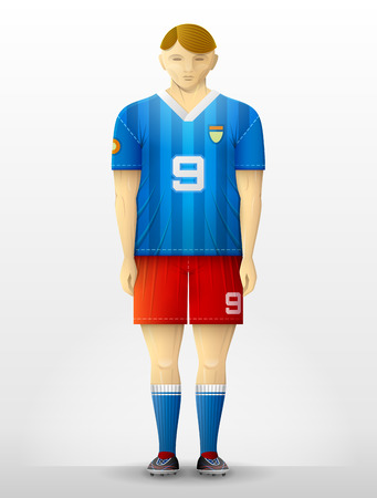 activewear: Front view of professional soccer player. Standing footballer in association football uniform. Qualitative vector illustration for soccer, sport game, championship, gameplay, etc Illustration