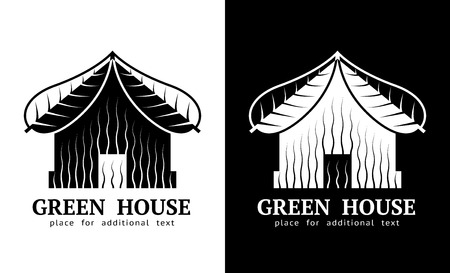 green building: House symbol with roof of leaves. Realty sign in black-and-white color. Qualitative vector illustration about architecture, green building, real estate, construction, development, renovation, sustainability, etc Illustration