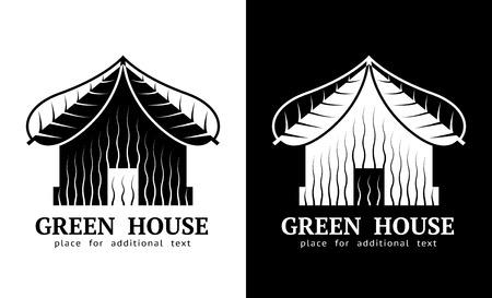 bioedilizia: Simbolo della Camera con il tetto di foglie. Realty segno di colore bianco e nero. Qualitativa illustrazione vettoriale di architettura, bioedilizia, immobiliare, costruzione, sviluppo, aggiornamento, sostenibilit�, ecc