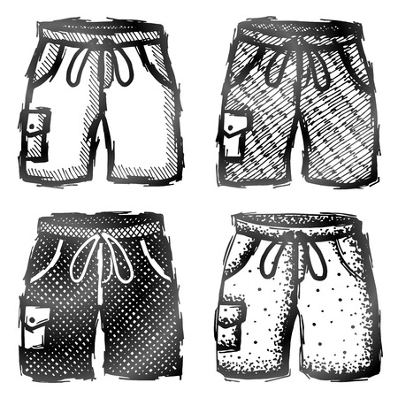 activewear: Hand drawn shorts with pocket. Sketch of swim trunks in doodle style. Qualitative vector illustration about summer clothing, sport, activewear, leisure, beachwear, type of pants, etc