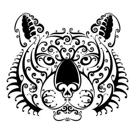 panthera: Tiger face with swirls looks ahead. Black and white tattoo of tiger head, front view. Qualitative vector illustration for circus, sports mascot, zoo, wildlife, nature, etc