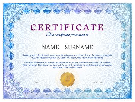 ギョーシェの要素を持つ証明書のテンプレートです。個人的な授与の青いディプロマ ボーダー デザイン。賞、特許、検証、ライセンス、教育、認証