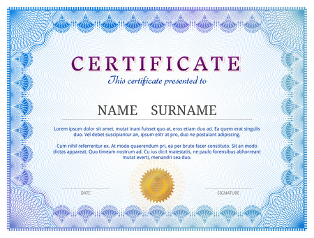 Certificate template with guilloche elements. Blue diploma border design for personal conferment. Qualitative vector layout for award, patent, validation, licence, education, authentication, achievement, etc Stock Illustratie