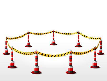 area restringida: Vaciar vallada zona restringida. Zona de Ronda con cinta de barrera y bolardos. Ilustraci�n vectorial cualitativa para la seguridad, la protecci�n, recinto, etc.