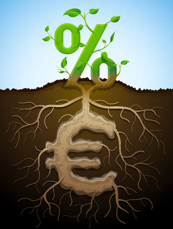 growing money: Growing percent sign as plant with leaves and euro sign as root. Financial concept with money symbol and percentage. Qualitative vector illustration for banking, financial industry, economy, accounting, etc Illustration