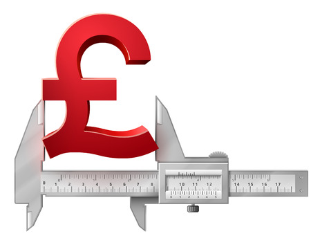 measures: Horizontal caliper measures pound symbol. Concept of measuring size of money sign. Qualitative vector illustration for banking, financial industry, economy, accounting, etc