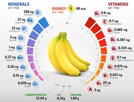 platano maduro: Las vitaminas y los minerales de la fruta de banano. Infografía sobre los nutrientes en el banano. Ilustración vectorial cualitativa acerca de plátano, vitaminas, frutas, alimentos saludables, nutrientes, dieta, etc.