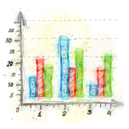 vertical bar: Painting of column bar chart with watercolor effect. Outline sketch of vertical bar graph painted colors. Qualitative vector illustration about infographics, analytics, data visualization, statistics, business presentation, etc