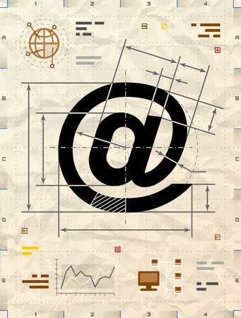 drafting: Email symbol as technical blueprint drawing. Drafting of mail sign on crumpled  paper. Qualitative vector illustration about internet, communication services, information technology, email, telecommunication, etc