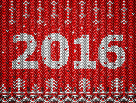 stockinet: Card of New Year 2016 with knitted texture. Christmas jumper fragment with 2016 New Year. Qualitative vector illustration for new year day, christmas, winter holiday, new year eve, silvester, etc