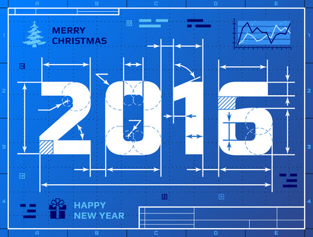 ard: ard of New Year 2016 as blueprint drawing. Stylized drafting of 2016 on blueprint paper. Qualitative vector illustration for new year day, christmas, winter holiday, new year eve, silvester, etc